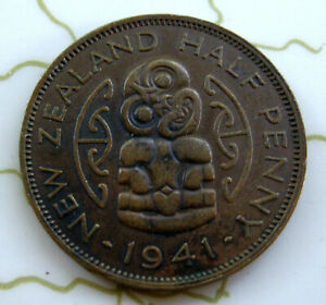 COIN NEW ZEALAND 1/2P 1941 XF 6904