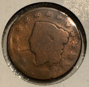 WORN DATE MATRON HEAD LARGE CENT   US EARLY COPPER COIN