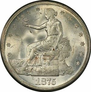 1875 S T$1 TRADE DOLLAR PCGS MS64   CAC