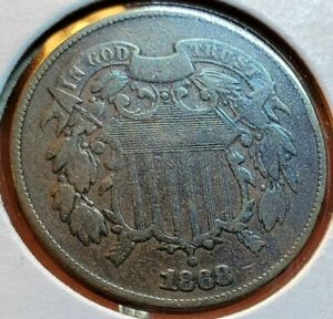 1868 2 CENT PIECE SUPER CHOICE EF EXTRA FINE  NICE COLOR AND SURFACES