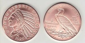 2 OZ. COPPER ROUND  1929  INDIAN  INCUSE  $5 GOLD  DESIGN COIN  FLAWED BLEMISHES