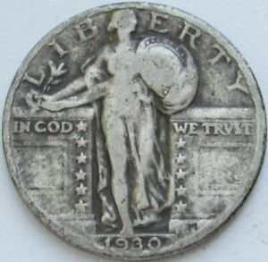 1930 STANDING LIBERTY SILVER QUARTER IN A SAFLIP   VG