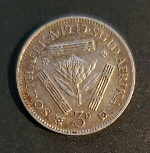 SOUTH AFRICA 1949 3 PENCE   SILVER   GEORGE VI   AU