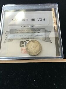 1911  COIN MART GRADED CANADIAN  5 CENT   VG 8