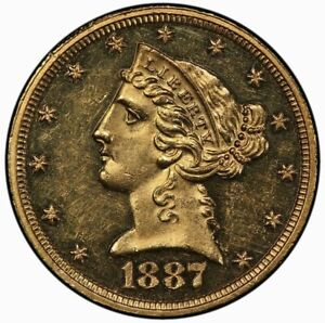 1887 $5 GOLD LIBERTY WITH MOTTO PCGS PR60CAM  CAC