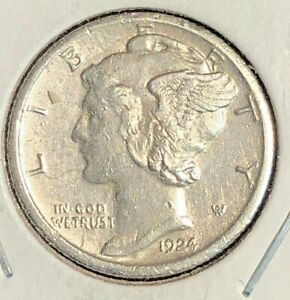 1924 S MERCURY DIME XF WITH RIM DINGS