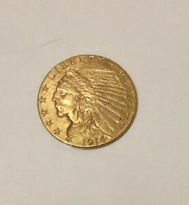 1914 $2.50 DOLLAR UNITED STATES INDIAN HEAD QUARTER EAGLE GOLD COIN