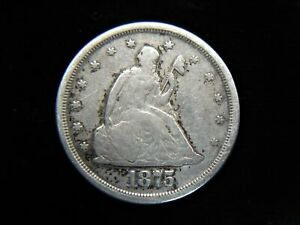 1875 S UNITED STATES TWENTY CENT PC.   UNUSUAL EARLY SILVER TYPE COIN