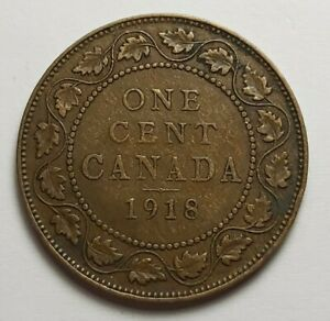1918 CANADA LARGE ONE CENT COIN  95  COPPER    KING EDWARD VII