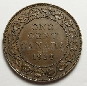 1920 CANADA LARGE ONE CENT COIN  95  COPPER    KING EDWARD VII