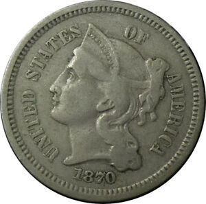 1870 THREE 3 CENT NICKEL FINE/VF CONDITION   BMP