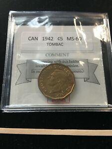 1942  TOMBAC  COIN MART GRADED CANADIAN  5 CENT   MS 60