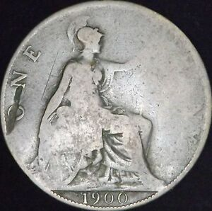 1900 GOOD DETAILS DINGED GREAT BRITAIN PENNY   KM 790