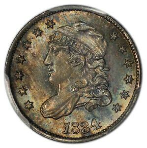 Click now to see the BUY IT NOW Price! 1834 HALF DIME CAPPED BUST PCGS MS66  CAC