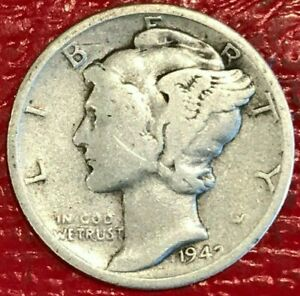 A VINTAGE NICE 1942 P MERCURY SILVER DIME OLD US COIN AGT253