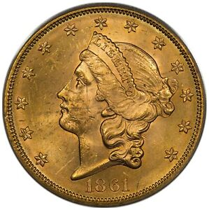 Click now to see the BUY IT NOW Price! 1861 $20 GOLD LIBERTY TYPE 1 PCGS MS62