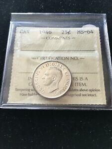 1946  ICCS GRADED CANADIAN 25 CENT   MS 64