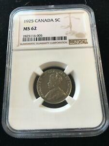Click now to see the BUY IT NOW Price! 1925   NGC GRADED CANADIAN  5 CENT   MS 62