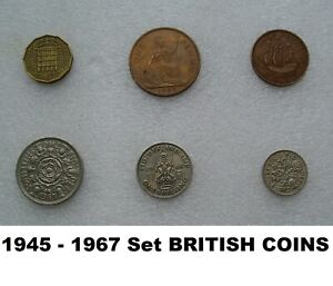 SET 6  1940S 60S COINS TWO ONE SHILLING SIX THREE PENCE HALF PENNY BIRTHDAY GIFT