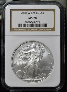 2008 W BURNISHED AMERICAN SILVER EAGLE   NGC MS70