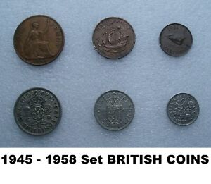 SET 6  1940S 50S COINS TWO ONE SHILLING SIX PENCE PENNY FARTHING   BIRTHDAY GIFT