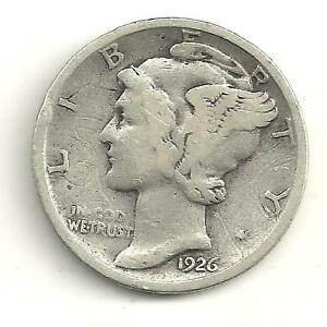 VERY NICE VINTAGE 1926 D MERCURY SILVER DIME 87 YEAR OLD US COIN JL35