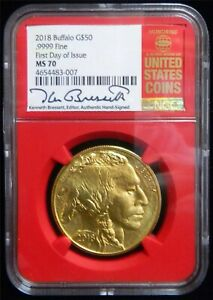 Click now to see the BUY IT NOW Price! 2018 $50 GOLD AMERICAN BUFFALO NGC MS70 FDOI KEN BRESSETT RED BOOK LABEL SP51