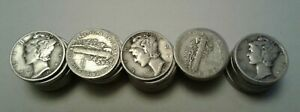 MERCURY DIMES 90  SILVER 50 COIN ROLL  AVG. CIRCULATED MOSTLY 1940'S