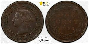 1891 CANADA LARGE CENT PCGS AU50 LOTG275   SMALL DATE SMALL LEAVES