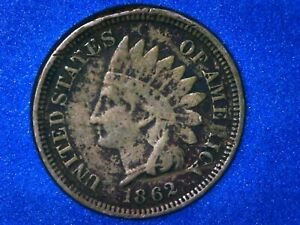 1862 INDIAN HEAD SMALL CENT PENNY GOOD CONDITION COIN BEGINNING OF CIVIL WAR