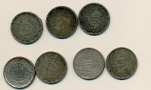 MEXICO    10 CENTS   AZTEC 1939 1940 1942  1946 7 COIN LOT