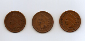 LOT OF 3 INDIAN HEAD CENTS 1896 1905 & 1906
