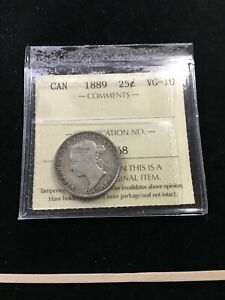 1889  ICCS GRADED CANADIAN 25 CENT   VG 10