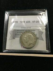 1948  COIN MART GRADED CANADIAN 25 CENT   VF 20