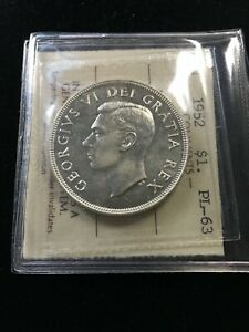 1952  NWL  ICCS GRADED CANADIAN SILVER DOLLAR   PL 63