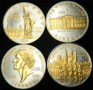 4 PIECE SET $1 MODERN COMMEMORATIVE SILVER DOLLARS HIGHLIGHTED WITH GOLD OC6