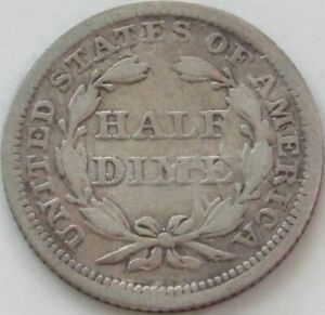 1854 SEATED LIBERTY SILVER HALF DIME   FLOW LINES ERROR   FINE   VG   DETAILS