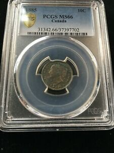 Click now to see the BUY IT NOW Price! 1885  OBV4  PCGS GRADED CANADIAN  10 CENT   MS 66  WOW