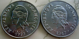 2COINS POLINESIA 50FR 1967&1975 UNC DIFFER. 3325