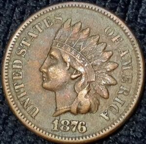 1876 INDIAN HEAD 1CENT PENNY BEAUTIFUL SEMI KEY DATE  U.S. COIN MAKE OFFER.
