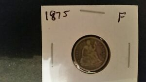 1875 SEATED LIBERTY DIME FINE