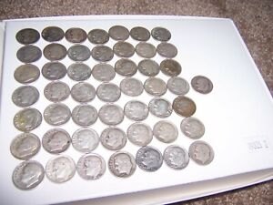 90  SILVER ROOSEVELT DIMES   ROLL OF 50   $5 FACE VALUE