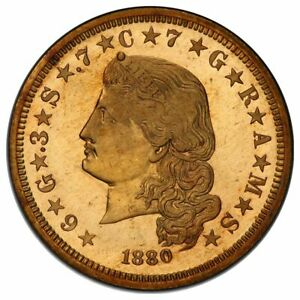 1880 $4 GOLD STELLA FLOW HAIR PCGS PR66