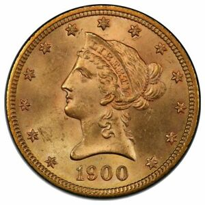 1900 $10 GOLD LIBERTY WITH MOTTO PCGS MS65