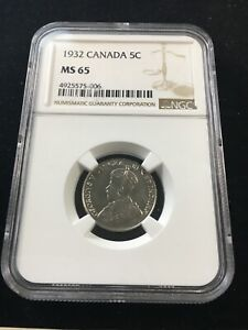 Click now to see the BUY IT NOW Price! 1932  NEAR 2 ; FAR S  NGC GRADED CANADIAN  5 CENT   MS 65