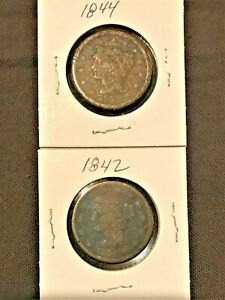 1842 AND 1844 BRAIDED HAIR  LARGE CENT SET  LOT AS