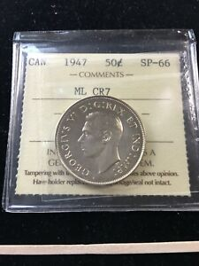 Click now to see the BUY IT NOW Price! 1947  ML CURVED RIGHT  ICCS GRADED CANADIAN SILVER 50 CENT   SP 66