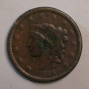 1838 CORONET LARGE CENT COIN