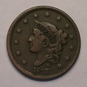 1837 LARGE CENT CORONET TYPE PROBLEM FREE CIRCULATED COIN
