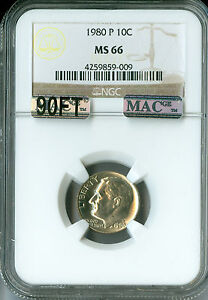 Click now to see the BUY IT NOW Price! 1980 P ROOSEVELT DIME NGC MAC MS66 90FT PQ  $10 000 FOR A FT